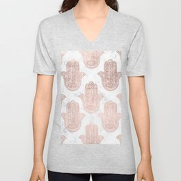 Modern rose gold floral lace hamsa hands white marble illustration pattern Unisex V-Neck
