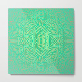 Radiate (Yellow/Ochre Teal- non metallic) Metal Print