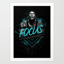 Dwayne Johnson Motivational Art and Quote Art Print
