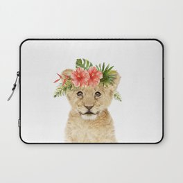Baby Lion with Flower Crown Laptop Sleeve