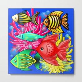 Fish Cute Colorful Doodles Metal Print