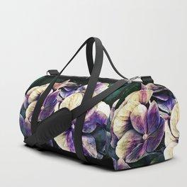 Hortensia flowers in vintage grunge watercoloring style Duffle Bag