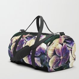 Hortensia flowers in vintage grunge watercoloring style Duffle Bag