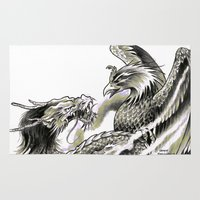 fitzgerald Area & Throw Rugs featuring Dragon Phoenix Tattoo Art Print by Cathy FitzGerald