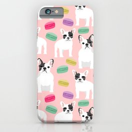 French Bulldog macaron paris cute puppy frenchie gifts for dog breed owner pet friendly custom dog iPhone Case
