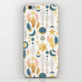 Bohemian spirit IV // white background salmon pink & gold feathers iPhone Skin