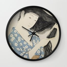 Woman in Blue Combing Her Hair - Hashiguchi Goyo Wall Clock