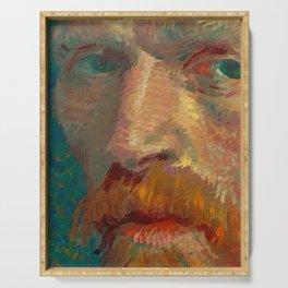 Vincent van Gogh Extreme Close Up of Self Portrait Serving Tray