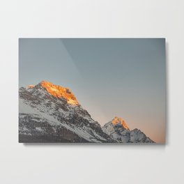 Italian Dolomites at Sunset | Orange capped mountain peks of Cortina d'Ampezzo | Italy travel photography prints Metal Print