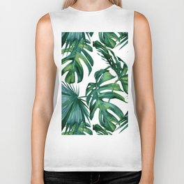 Classic Palm Leaves Tropical Jungle Green Biker Tank