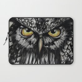 An Owl Eye, Amazing eyes, a bird, original art by Luna Smith Art, LuArt Gallery Laptop Sleeve
