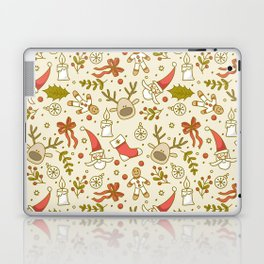 Christmas pattern with snowflakes. Laptop & iPad Skin