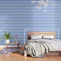 Cornflower blue - solid color - white stripes pattern by makeitcolorful