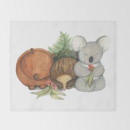 Native Australian Animal Babies – With Koala, Wombat And Echidna Throw Blanket