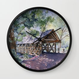 Naperville Covered Bridge in Spring Wall Clock