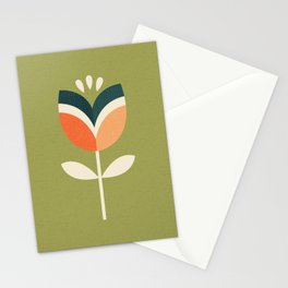 RETRO TULIP - ORANGE AND OLIVE GREEN Stationery Cards