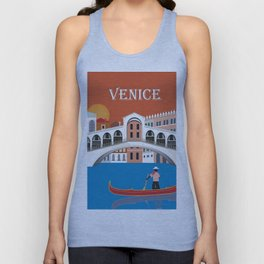 Venice, Italy - Skyline Illustration by Loose Petals Unisex Tank Top