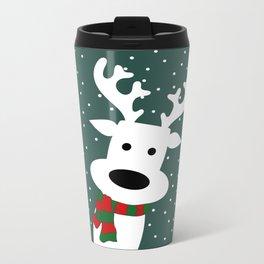 Reindeer in a snowy day (green) Metal Travel Mug