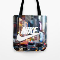 nike Tote Bags featuring Nike by Pink Berry Patterns