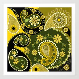 Paisley Patterns, Flowers and Circles Art Print