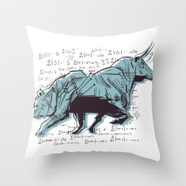 Stock market Baer and Bulle Throw Pillow