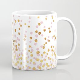 Floating Dots - Pink and Gold on White Coffee Mug