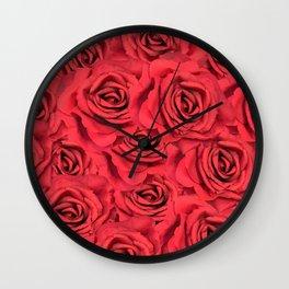 Radical Red Roses Wall Clock