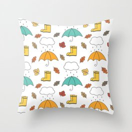 cute lovely autumn pattern with umbrellas, rain, clouds, leaves and boots Throw Pillow