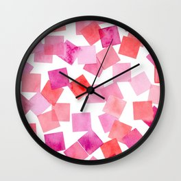pink and red watercolour squares Wall Clock