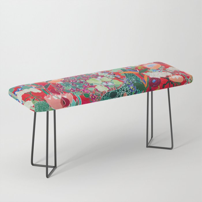 Red floral Jungle Garden Botanical featuring Proteas, Reeds, Eucalyptus, Ferns and Birds of Paradise Bench