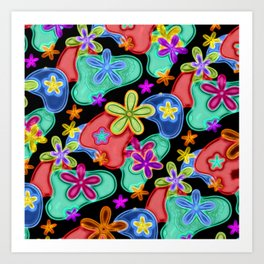 Colorful Retro Flowers Fractalius Pattern Art Print