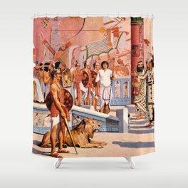 "Classical Masterpiece ""Egyptian Ramesses II Throne Room"" by Herbert Herget Shower Curtain"