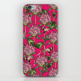 Red clover pattern iPhone Skin