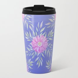 Hand painted violet pink watercolor modern daisies floral Travel Mug