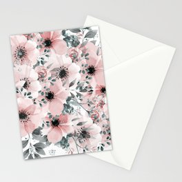 Flower Watercolor, Blush Pink and Gray, Floral Prints Stationery Cards