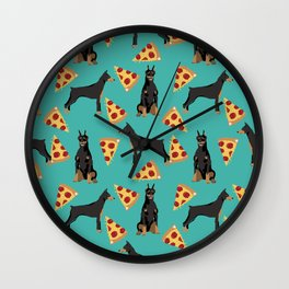 Doberman Pinscher pizza food slice foodie dog lover doberman dog owner custom dog breed Wall Clock