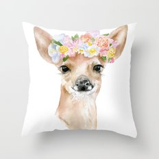 Deer Fawn Floral Watercolor Throw Pillow