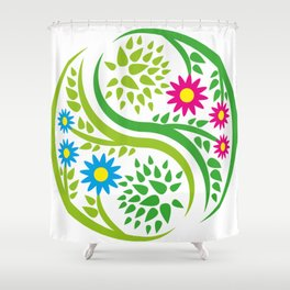 Yin Yang Flower Shower Curtain