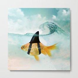 Goldfish with a Shark Fin, wave Metal Print