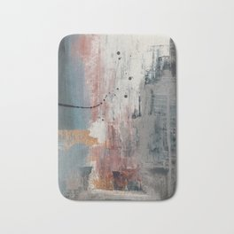 S'il Vous Plait: an abstract mixed-media piece in blue, gray, and gold by Alyssa Hamilton Art Bath Mat