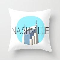 nashville Throw Pillows featuring NASHVILLE by Lauren Jane Peterson