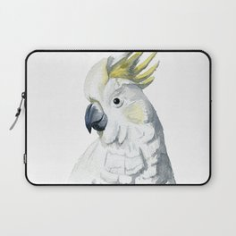 White and yellow watercolor cockatoo portrait Laptop Sleeve