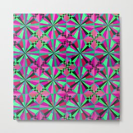 Pink and Green Symmetry Metal Print
