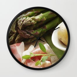 #Green #asparagus with #delicious #ham and #potaeto Wall Clock