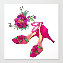 Party Shoes with Poinsettia for Holiday, Christmas, New Year Canvas Print