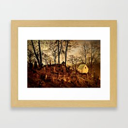 Old Cemetery at Night Framed Art Print