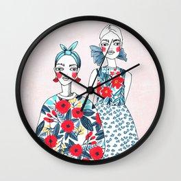 Funny girls illustration Wall Clock