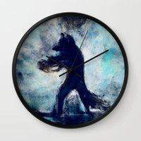 rocket raccoon Wall Clocks featuring Rocket Raccoon by Luca Leona