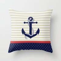 navy Throw Pillows featuring Navy by Vickn