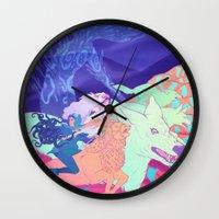 mononoke Wall Clocks featuring Mononoke Hime by Jen Bartel